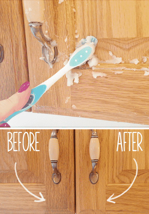 How to clean kitchen cabinets -- DIY household cleaning tips, tricks and hacks for your home bathrooms, kitchens, bedrooms, floors, furniture and more! Perfect for a lazy girl like me. Listotic.com