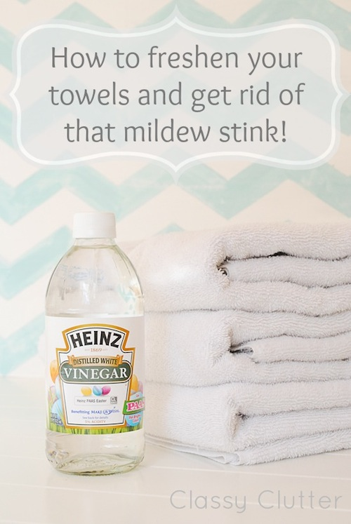 How to remove mildew smell from towels -- DIY household cleaning tips, tricks and hacks for your home bathrooms, kitchens, bedrooms, floors, furniture and more! Perfect for a lazy girl like me. Listotic.com