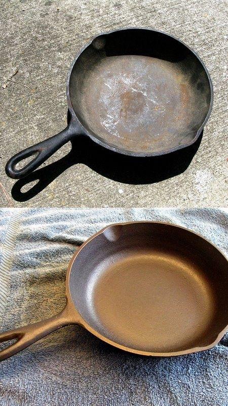 how to clean cast iron pans and pots -- DIY household cleaning tips, tricks and hacks for your home bathrooms, kitchens, bedrooms, floors, furniture and more! Perfect for a lazy girl like me. Listotic.com