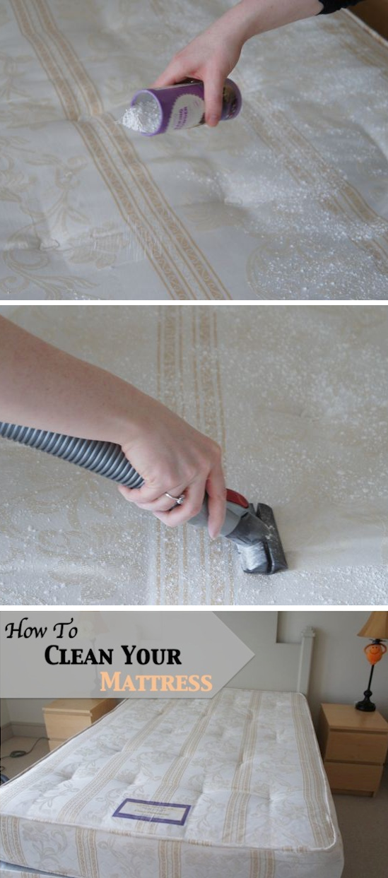 The best and easiest way to clean a mattress. -- DIY household cleaning tips, tricks and hacks for your home bathrooms, kitchens, bedrooms, floors, furniture and more! Perfect for a lazy girl like me. Listotic.com