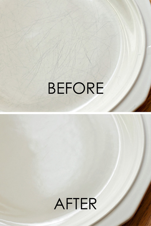 How to remove scratches off of ceramic plates, bowls and dishes. -- DIY household cleaning tips, tricks and hacks for your home bathrooms, kitchens, bedrooms, floors, furniture and more! Perfect for a lazy girl like me. Listotic.com