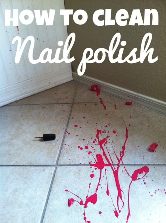 How to clean nail polish off of floor and counters. -- DIY household cleaning tips, tricks and hacks for your home bathrooms, kitchens, bedrooms, floors, furniture and more! Perfect for a lazy girl like me. Listotic.com