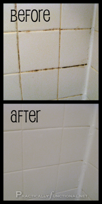 DIY: How to wash grout lines in shower tile! -- Perfect for a lazy girl like me. Listotic.com