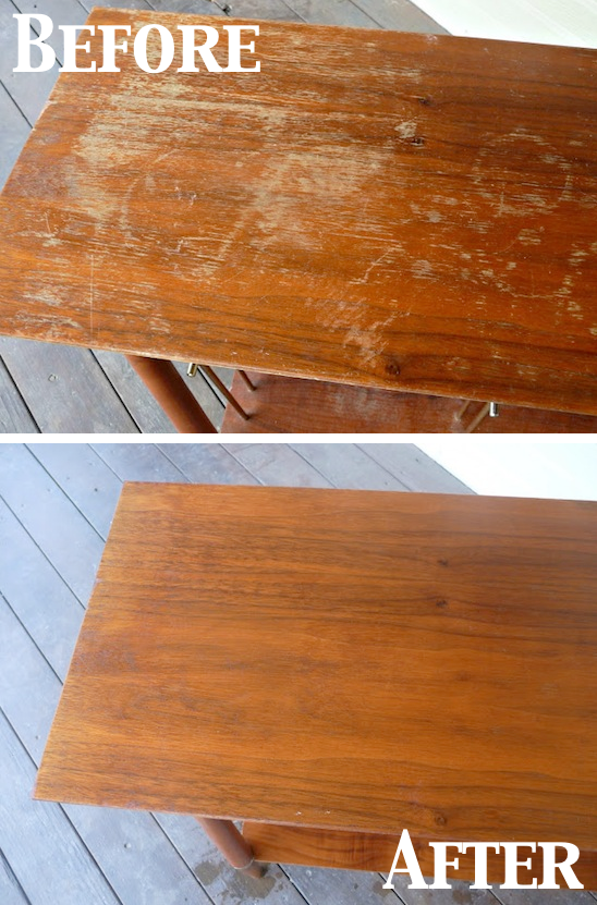 How to easily fix scratches in wood floors, cabinets and furniture. -- Perfect for a lazy girl like me. Listotic.com