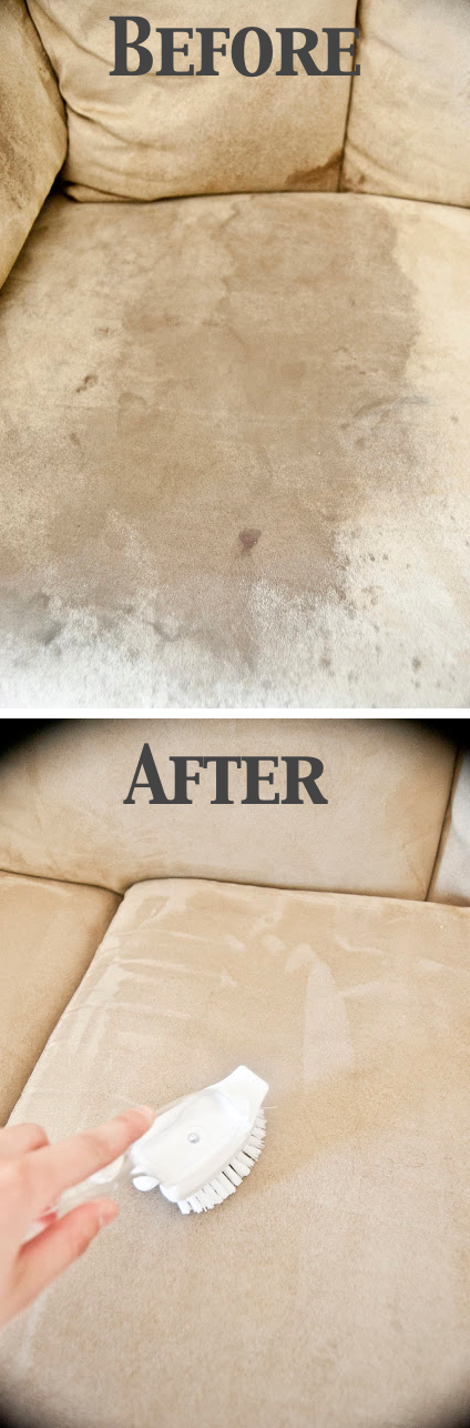 How to clean and get rid of stains on a microfiber suede couch -- DIY household cleaning tips, tricks and hacks for your home bathrooms, kitchens, bedrooms, floors, furniture and more! Perfect for a lazy girl like me. Listotic.com