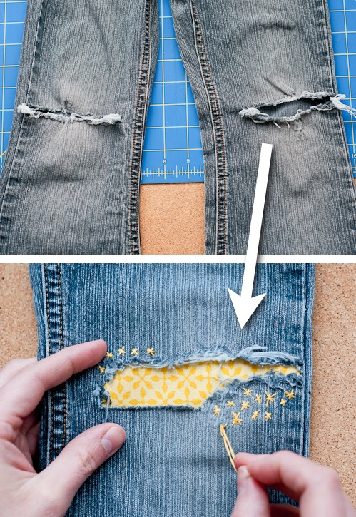 Cute ways to patch up your clothes! ~ A great list of DIY style, clothing and life hacks every girl should know! Everything from organization to bra straps! Tips for teens and women. Listotic.com