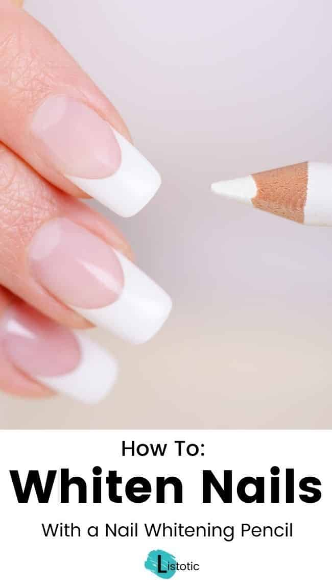 Whiten nails with a nail whitening pencil