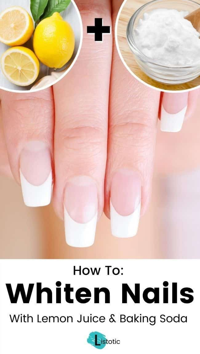 Learn how to whiten your finger nails with just lemon juice and baking soda