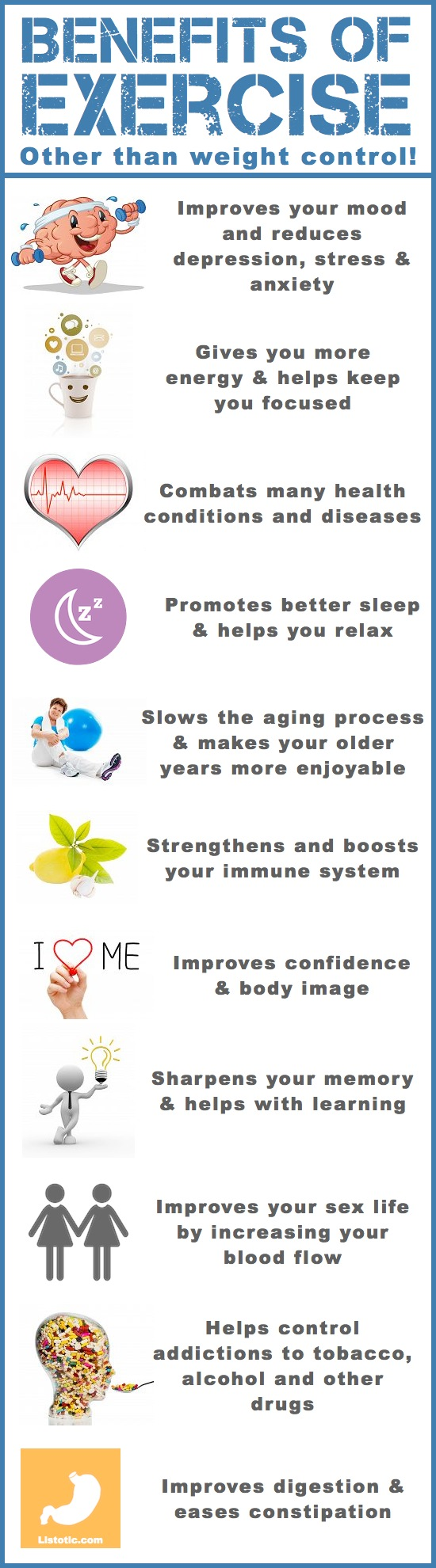 The benefits of exercise -- Weight loss tips and motivation for women and teens! Lose that belly and develop a fitness plan that works for you! You won't believe your before and after (mentally and physically). Whether you want to lose it fast or over time, these tips will help you get there. Listotic.com