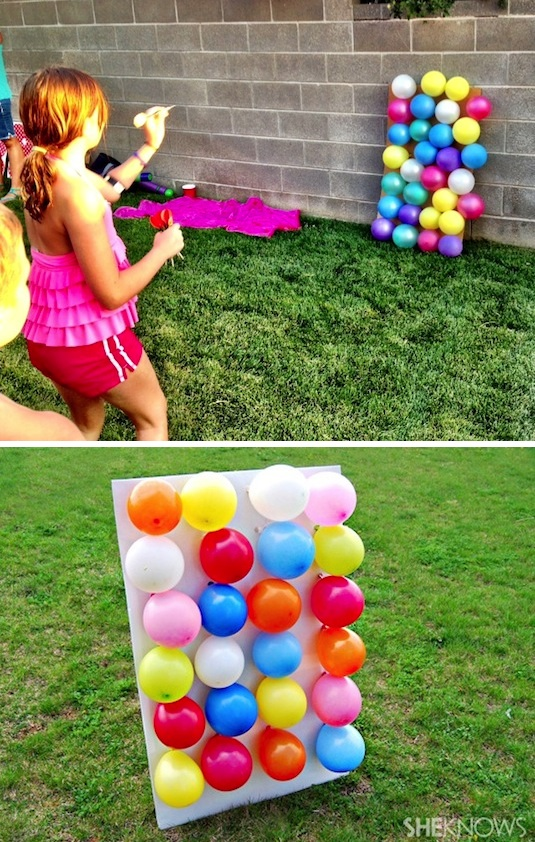 32 Of The Best DIY Backyard Games You Will Ever Play -- Balloon darts! Fill each balloon with a number or prize on a piece of paper.