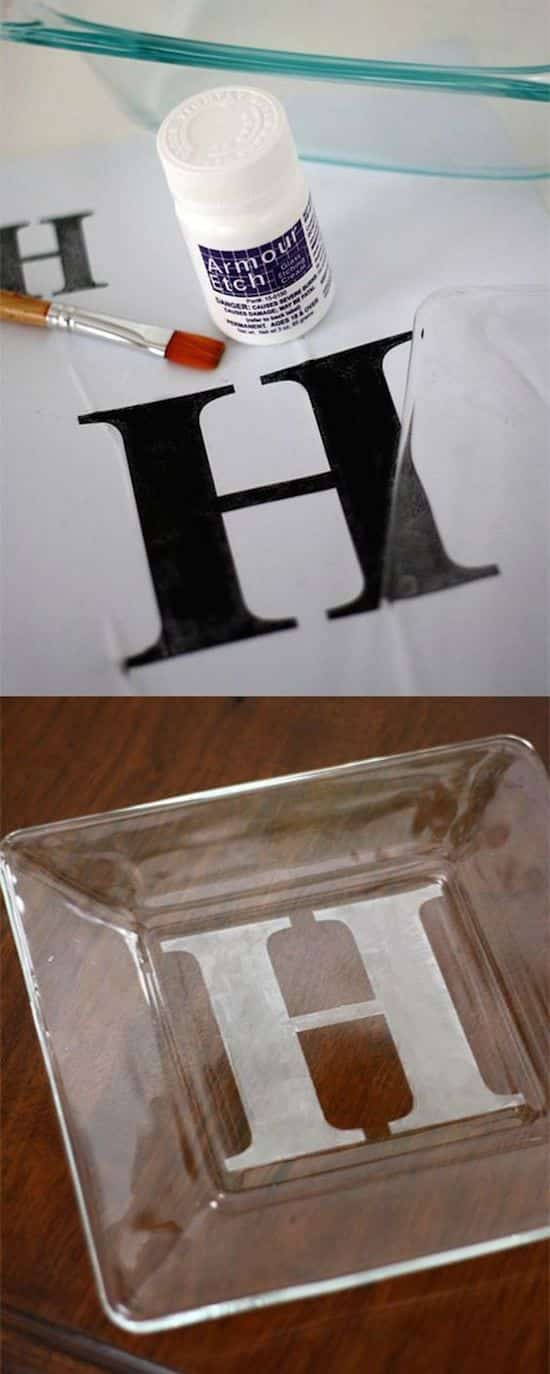 DIY personalized gift idea! Etched candy dish.