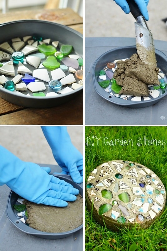 DIY custom stepping stone. -- Easy DIY cheap gift ideas for Christmas, birthdays, boyfriends, girlfriends, family, friends and more! These simple, last minute crafts and projects make for special gifts anyone can do! Creative ideas to sell too! Listotic.com