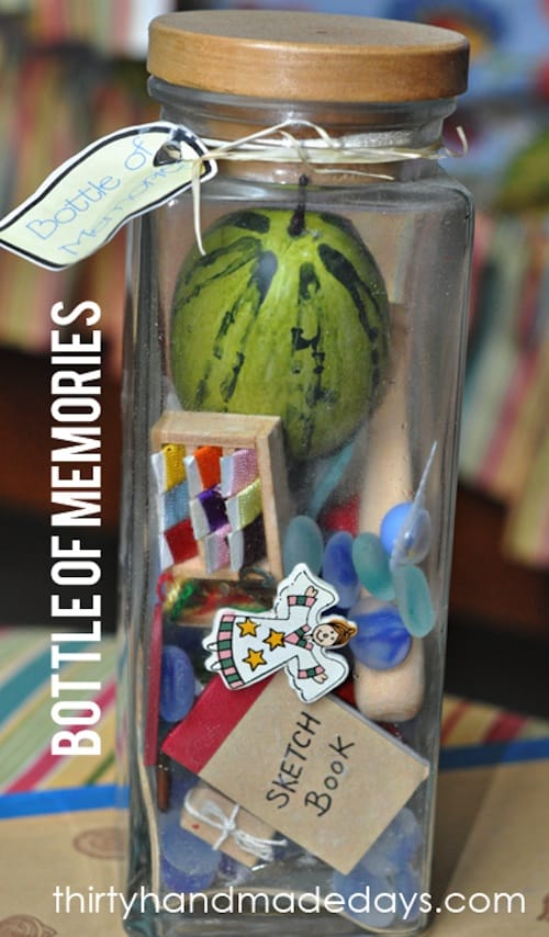 Bottle of memories. -- Easy DIY cheap gift ideas for Christmas, birthdays, boyfriends, girlfriends, family, friends and more! These simple, last minute crafts and projects make for special gifts anyone can do! Creative ideas to sell too! Listotic.com