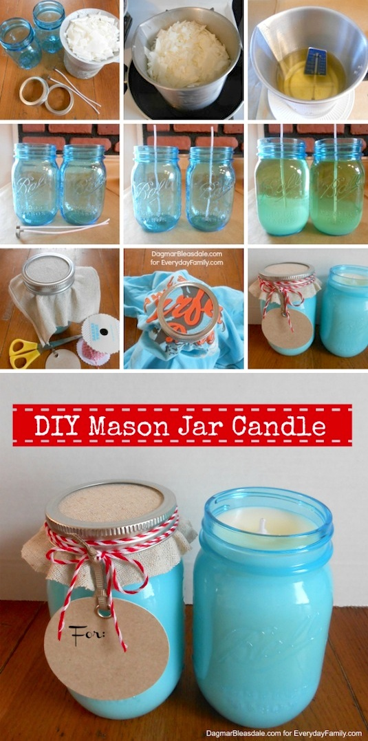 DIY mason jar candles for gifts. -- Easy DIY cheap gift ideas for Christmas, birthdays, boyfriends, girlfriends, family, friends and more! These simple, last minute crafts and projects make for special gifts anyone can do! Creative ideas to sell too! Listotic.com