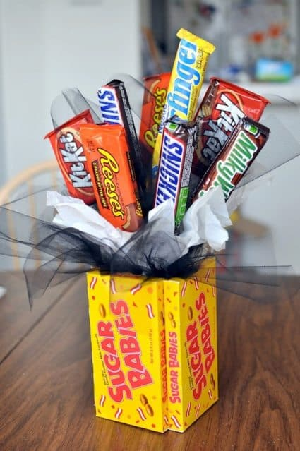 candy bouquets gift basket with candy bars and boxes of candy