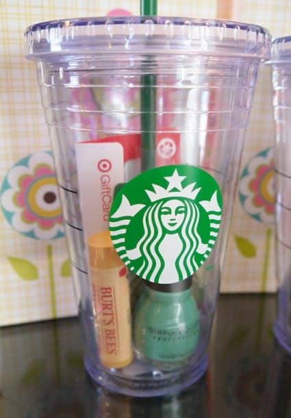 Starbucks gift basket in a cup