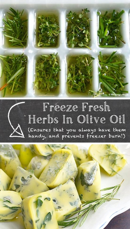 food, kitchen and cooking tips that will save you a ton of money and time! Life hacks every girl should know. How to preserve fresh herbs in olive oil. Listotic.com