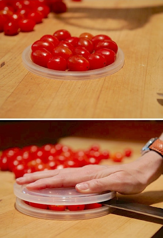 How to cut cherry tomatoes super fast! Lots of kitchen, food and cooking tips and tricks here! Life hacks every girl should know.