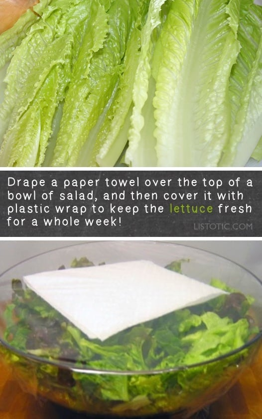 How to keep lettuce fresh in the fridge for longer! Lots of kitchen and food tips and tricks here! Organization and life hacks everyone should know. Listotic.com