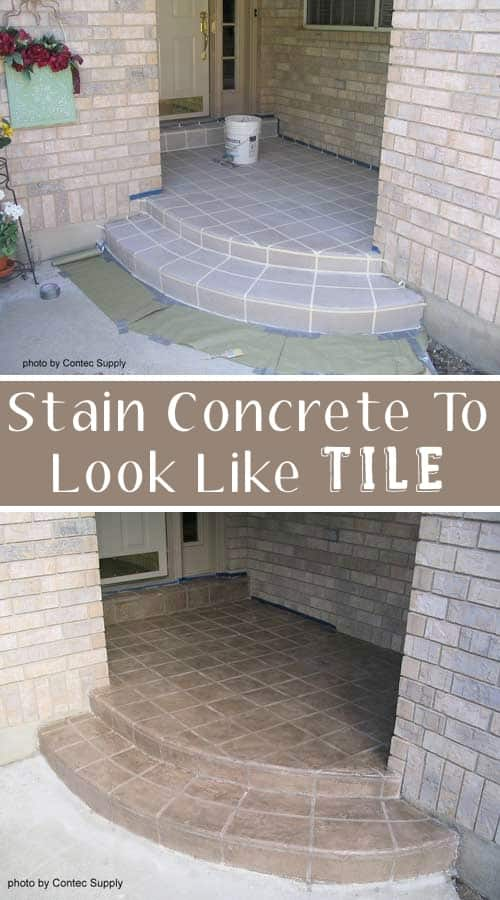 Use concrete stain to make a faux tile entry! ~ I love these curb appeal ideas and exterior makeovers! Lots of easy DIY projects on a budget for your entryway, landscaping, porch, front yard, garage doors and more! Before and after photos included.   Listotic.com