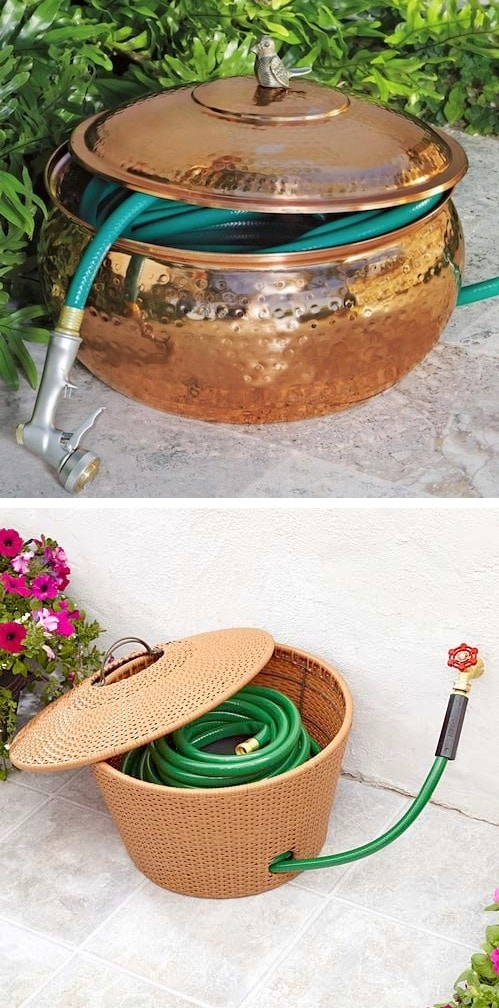 Keep your hose hidden in a hose pot! ~ I love these curb appeal ideas and exterior makeovers! Lots of easy DIY projects on a budget for your entryway, landscaping, porch, front yard, garage doors and more! Before and after photos included. | Listotic.com
