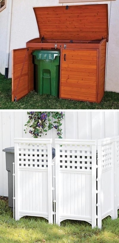 Keep those trash cans hidden! ~ I love these curb appeal ideas and exterior makeovers! Lots of easy DIY projects on a budget for your entryway, landscaping, porch, front yard, garage doors and more! Before and after photos included. | Listotic.com