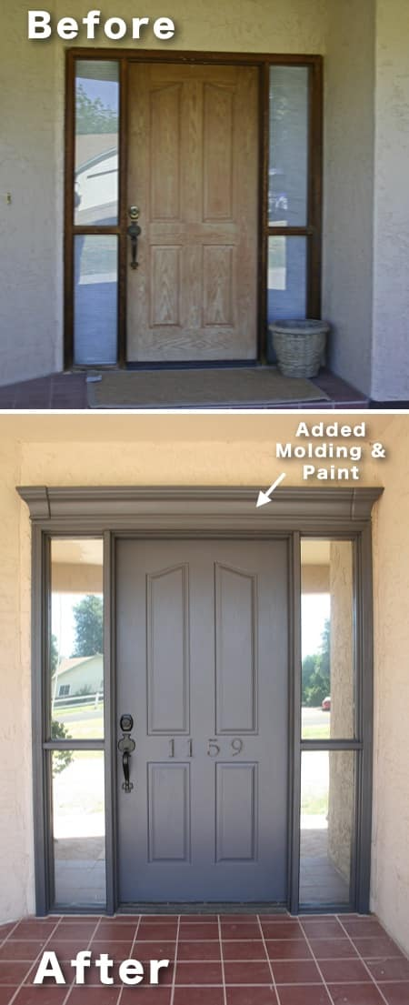 how to update your front door and entryway for cheap. -- I love these curb appeal ideas and exterior makeovers! Lots of easy DIY projects on a budget for your entryway, landscaping, porch, front yard, garage doors and more! Before and after photos included. | Listotic.com
