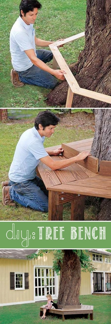 How to make a tree bench for your front yard. -- I love these curb appeal ideas and exterior makeovers! Lots of easy DIY projects on a budget for your entryway, landscaping, porch, front yard, garage doors and more! Before and after photos included. | Listotic.com