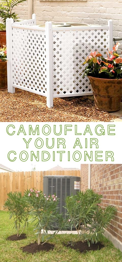 Hide your air conditioner! ~ I love these curb appeal ideas and exterior makeovers! Lots of easy DIY projects on a budget for your entryway, landscaping, porch, front yard, garage doors and more! Before and after photos included. | Listotic.com