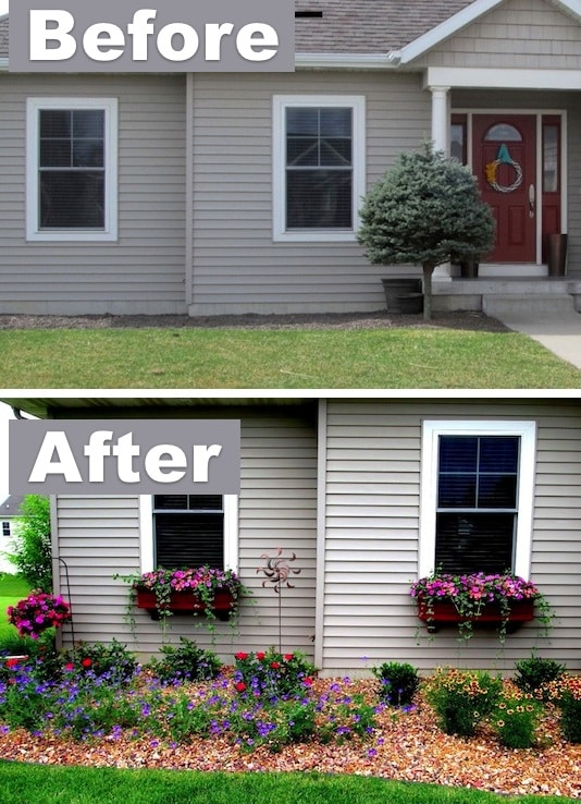 Add character with window boxes! ~ I love these curb appeal ideas and exterior makeovers! Lots of easy DIY projects on a budget for your entryway, landscaping, porch, front yard, garage doors and more! Before and after photos included. | Listotic.com