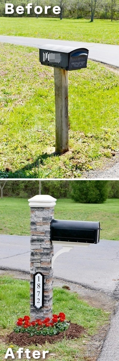 Easy DIY cheap mail box makeover! ~ I love these curb appeal ideas and exterior makeovers! Lots of easy DIY projects on a budget for your entryway, landscaping, porch, front yard, garage doors and more! Before and after photos included. | Listotic.com