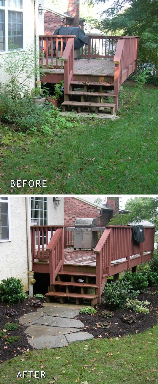 Add A Walkway ~ I love these curb appeal ideas and exterior makeovers! Lots of easy DIY projects on a budget for your entryway, landscaping, porch, front yard, garage doors and more! Before and after photos included. | Listotic.com