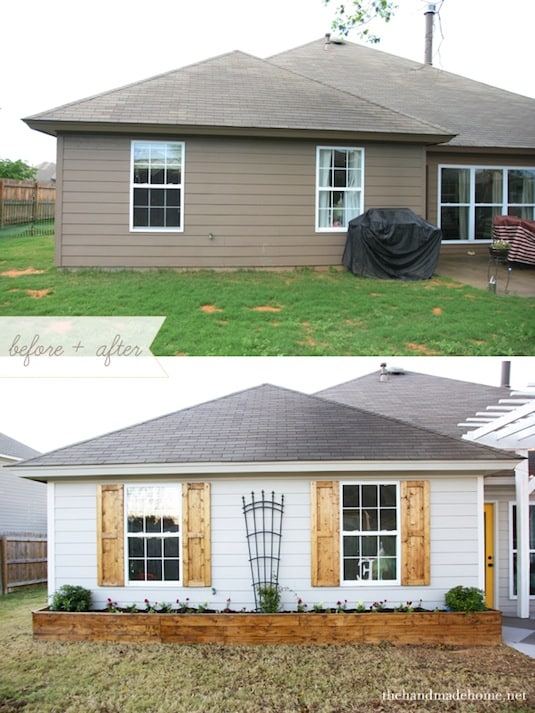 Shutters make a huge difference to your home's curb appeal! ~ I love these curb appeal ideas and exterior makeovers! Lots of easy DIY projects on a budget for your entryway, landscaping, porch, front yard, garage doors and more! Before and after photos included.   Listotic.com