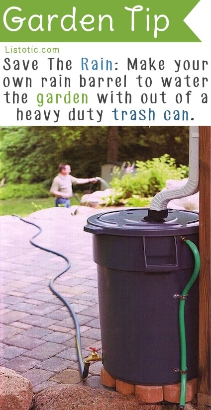 Easy DIY Rain Barrel -- Easy DIY gardening tips and ideas for beginners and beyond! Tips and tricks for your flower or vegetable garden, or for your front or backyard landscaping design. A few garden projects and ideas you can do for cheap! Listotic.com