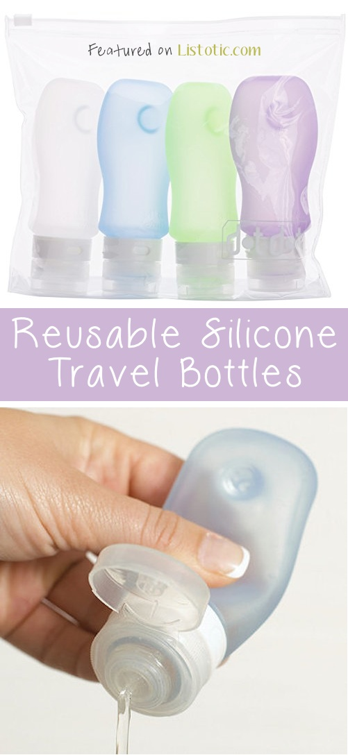 21 Genius Silicone Inventions -- Reusable travel bottles! They even have a suction cup so you can cling it to a shower wall or mirror.