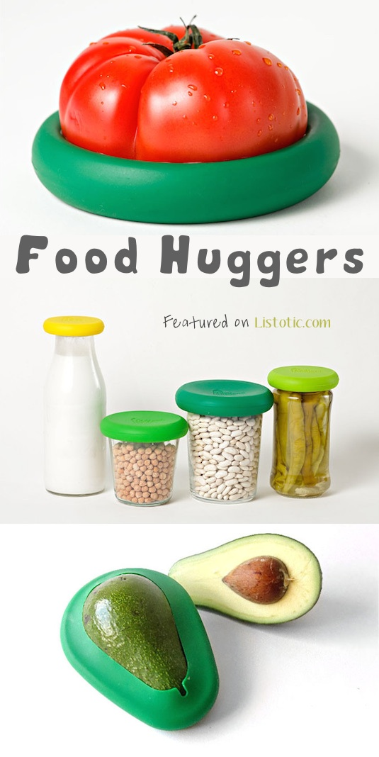 Food huggers! These are AWESOME... replaces plastic baggies, wrap and foil. -- 21 Genius Silicone Inventions