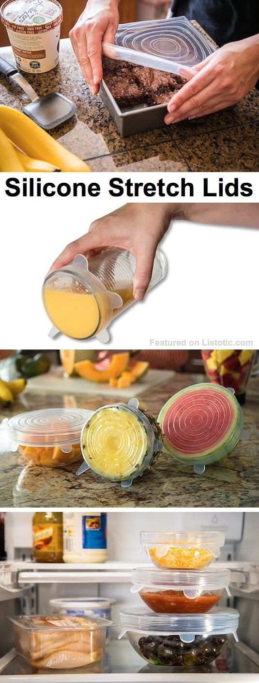Silicone Stretch Lids -- they fit almost all containers! Super easy to use.