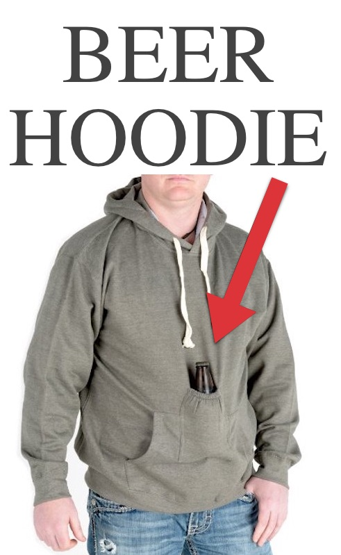 The perfect gift idea for a boyfriend, husband or brother! Beverage Pouch Hoodie -- List of clothing items you didn't know you could buy. Listotic.com