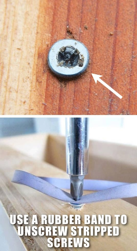 How to remove a stripped screw the easy way -- Clever DIY life hacks every girl should know! For organization, crafts, ideas, beauty, school, home or just little tips and tricks that will make your life easier. Listotic.com