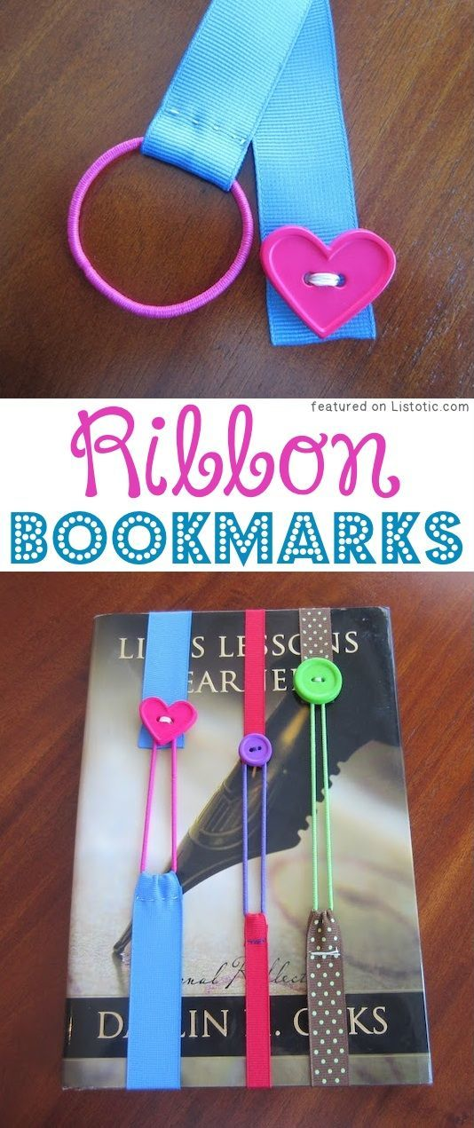 DIY Ribbon Bookmarks (ribbon, hairbands, and buttons!) -- A ton of DIY super easy kids crafts and activities for boys and girls! Quick, cheap and fun projects for toddlers all the way to teens! Listotic.com