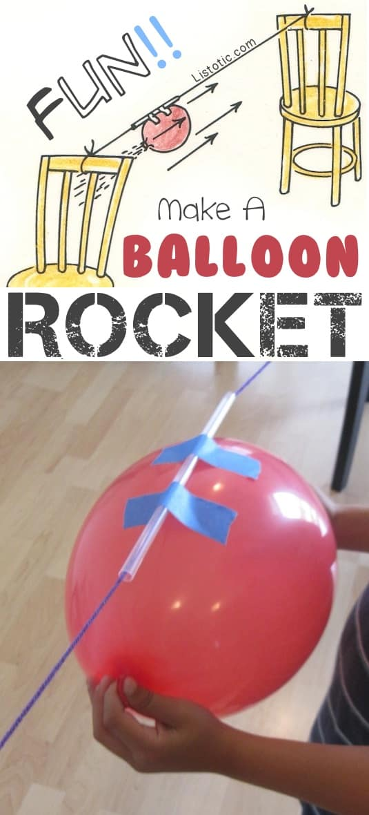 Balloon rockets!! A fun indoor activity for winter! Balloon rocket using string through a straw and taped to balloon sliding between two chairs.