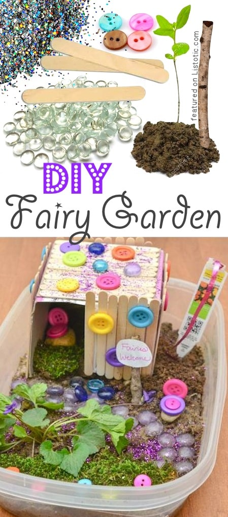 DIY Outdoor Fairy Garden for kids. Supplies needed include buttons, wooden sticks, dirt, plants and colorful decorations.