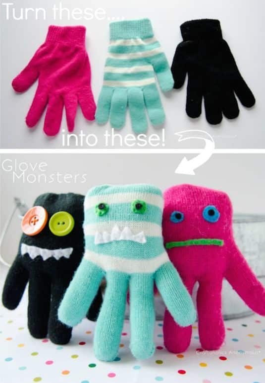 Glove Monsters... A fun way to recycle. -- A ton of DIY super easy kids crafts and activities for boys and girls! Quick, cheap and fun projects for toddlers all the way to teens! Listotic.com