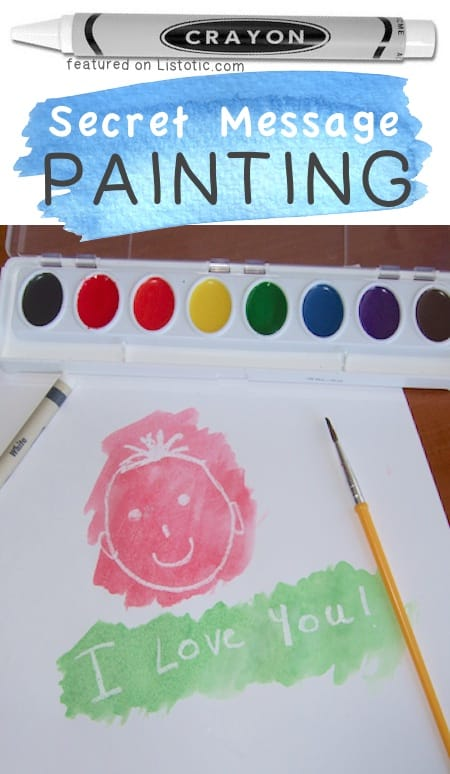 Secret Message Painting. A fun watercolor idea for kids. -- A ton of DIY super easy kids crafts and activities for boys and girls! Quick, cheap and fun projects for toddlers all the way to teens! Listotic.com