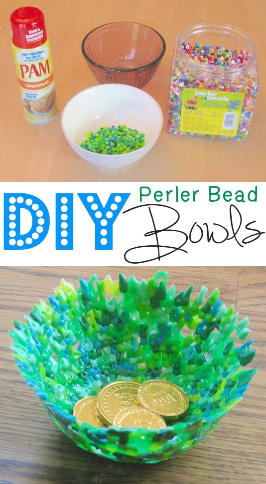DIY Perler Bead Bowls made using Pam cooking spray and beads.