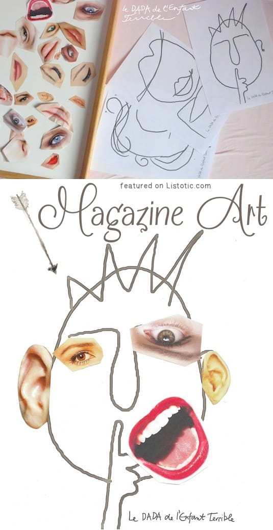 Magazine Art made by drawing a face and adding magazine pics to accentuate features on the face.