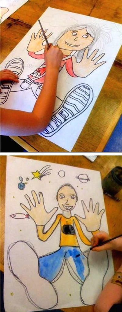 A fun drawing project for kids tracing your hands and feet and filling in the rest of your body.