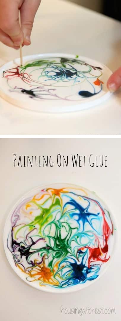 Fun craft idea using wet glue a toothpick and some paint swirled together for magical crafty art