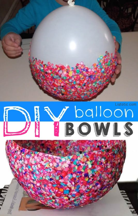 Balloon Bowls!! Start with a balloon and add sequins for a brilliantly colored bowl.