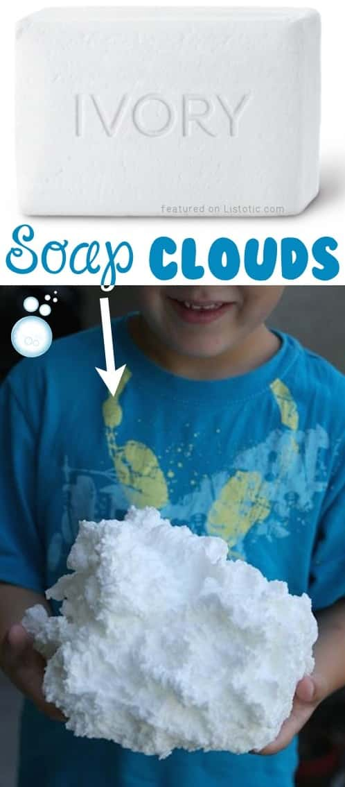 Soap Clouds... The most fun you'll ever have with your microwave! -- A ton of DIY super easy kids crafts and activities for boys and girls! Quick, cheap and fun projects for toddlers all the way to teens! Listotic.com